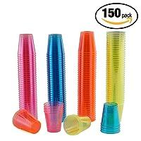 matana 150er Pack Neon Party Plastik Schnapsgläser und Bunte Einweg-Becher – 30ml Schnapsbecher, Plastikbecher & Pinnchen aus Kunststoff – Ideale Shotgläser für Shots