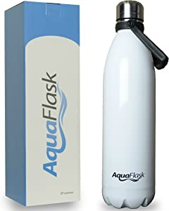 AquaFlask Vacuum Insulated Double Wall Stainless Steel Water Bottle with Handle, Multiple Sizes/Colors