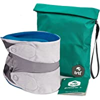 trtl Pillow Plus, Travel Pillow - Fully Adjustable Neck Pillow for Airplane Travel, Car, Bus and Rail. Includes Water Proof Carry Bag and Setup Guide Travel Accessories