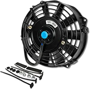 (Pack of 1) 7 Inch High Performance 12V Electric Slim Radiator Cooling Fan w/Mounting Kit - Black