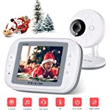 "Video Baby Monitor Camera 3.5"" LCD Display w/Wireless Digital Nanny Cam PRIKIM, 2-Way Talkback, Temperature Monitoring, Infrared Night Vision, Lullabies"