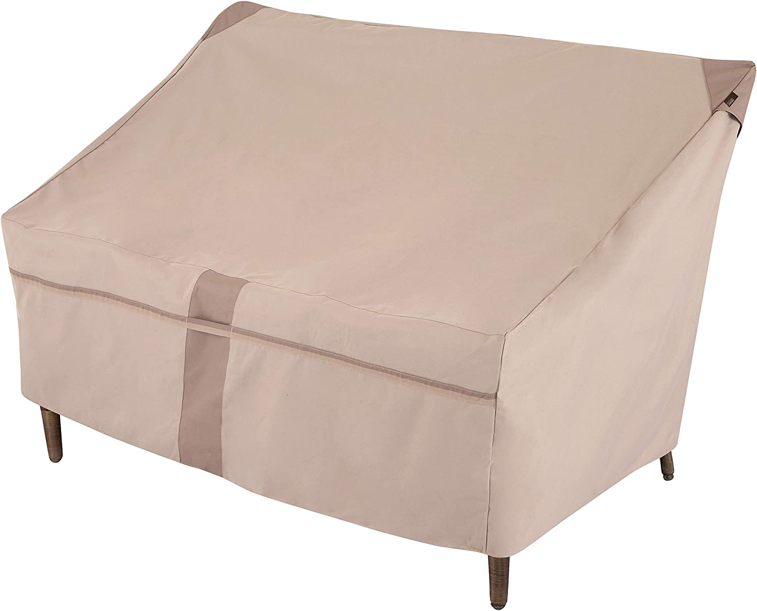 Modern Leisure 2905 Monterey Patio Love Seat, Outdoor Cover (57.5 L D x 38 H inches) Water-Resistant, Small, Khaki/Fossil