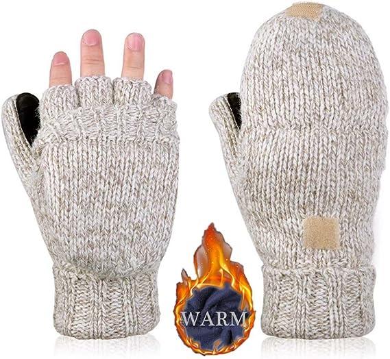 Hand knit woolen fingerless gloves-60121