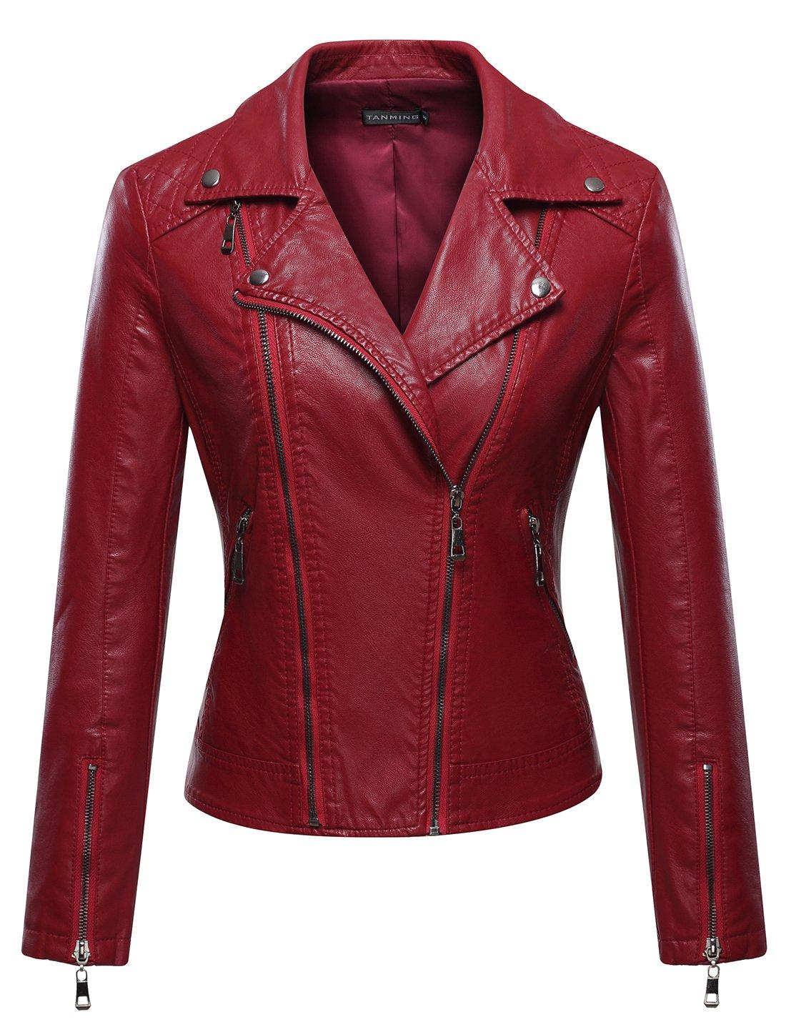 Tanming Women's Faux Leather Collar Moto Biker Short Coat Jacket (Medium, W-Red6)