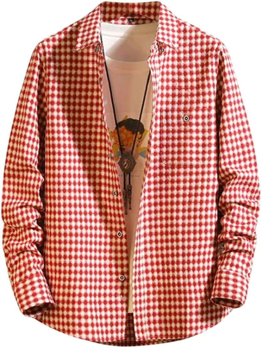 Domple Mens Cotton Plaid Retro Casual Long Sleeve Slim Button up Dress Shirts