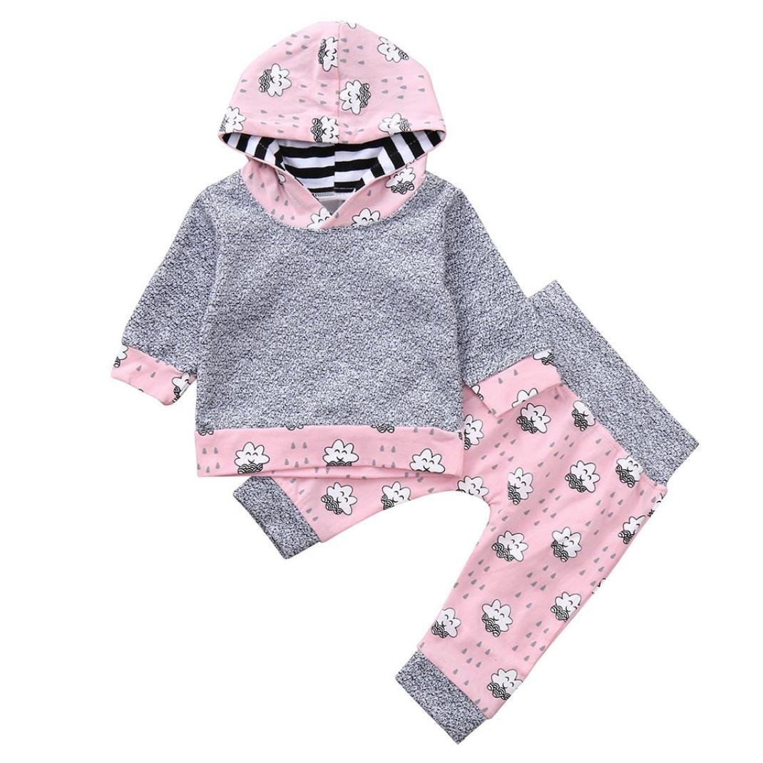 Baby Autumn Sets,Jchen(TM) New Style! Infant Baby Boys Girls Long Sleeve Hooded Tops Floral Print Pants Outfits for 0-24 Months (Age: 12-18 Months)