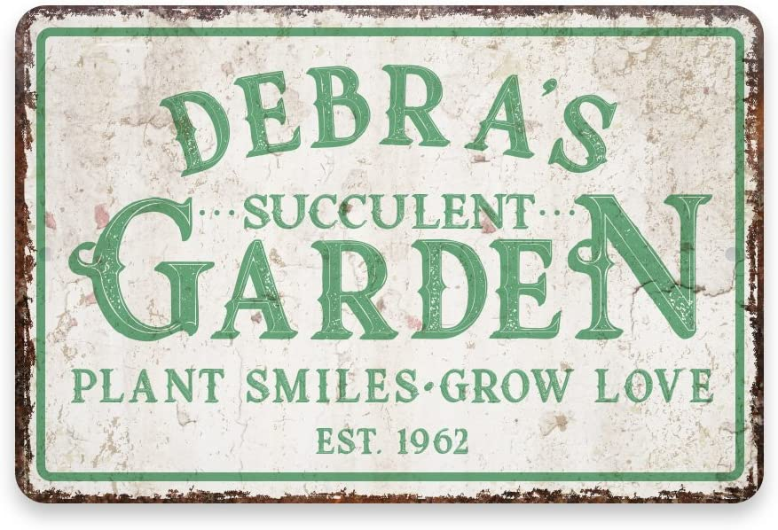 Pattern Pop Personalized Vintage Distressed Look Succulent Garden Metal Room Sign