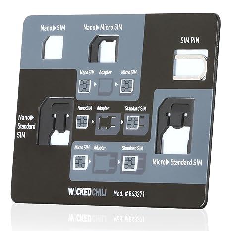 Wicked Chili Juego de adaptadores de tarjetas SIM, 4 en 1, (nano, micro, estándar, eject pin) para teléfonos móviles y tabletas.
