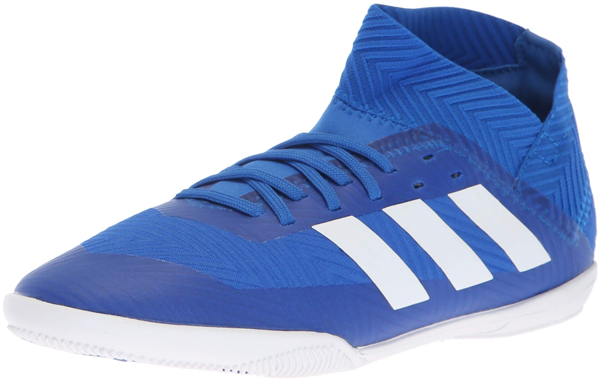 adidas Unisex Nemeziz Tango 18.3 Indoor Soccer Shoe, Football Blue/White/Black, 4 M US Big Kid