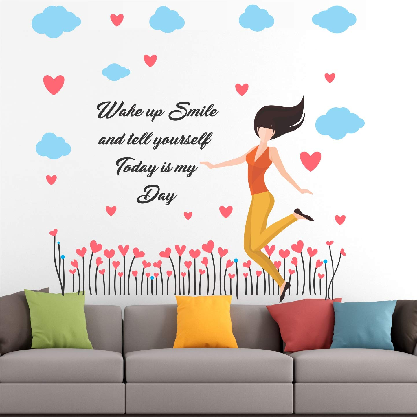 Buy Babeehive Beautiful Girl Hearts Inspirational Motivational Quotes Wall Sticker Bh043 Pvc Vinyl 120cm X 120 Cm Online At Low Prices In India Amazon In