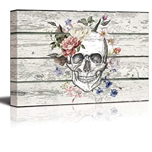 """wall26 - Canvas Prints Wall Art - Skull/Skeleton with Flowers on Vintage Wood Background Rustic Home Decoration - 16"""" x 24"""""""
