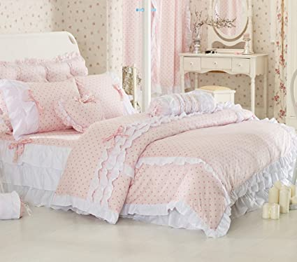 MeMoreCool Home Textile Pink Polka Dot Girly Bedding Sets Sweet Princess  Duvet Cover Set Twin Size 3Pcs: Amazon.co.uk: Kitchen U0026 Home