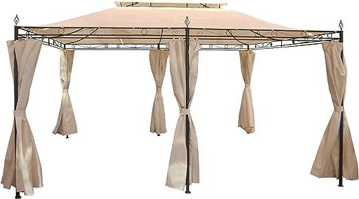 Pergola mecina, Cenador, 4 cm de estructura de acero con aspecto pared, 4 x 3 m: Amazon.es: Jardín