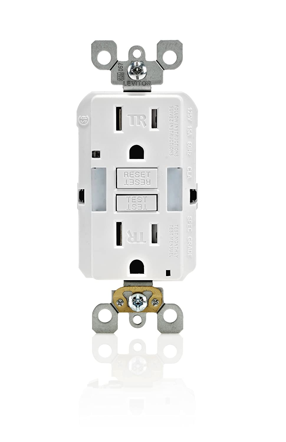 Leviton X7592 T 15 Amp Slim Guide Light Gfci Smartlockpro Wiring Two Outlets Series Monochromatic Back And Side Wired Self Grounding Clip Tamper Resistant Almond Night
