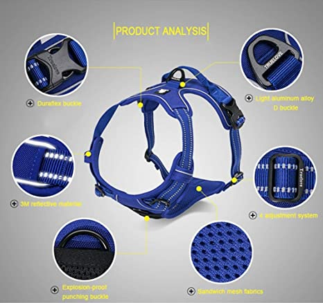 ... Refletive Dog Harness, Soft Padded No Pull Outdoor Training Walking Pet Vest with Handle Chest Vest Harness for Small Medium Large Dogs (S, Royal Blue) ...