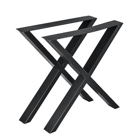 [en.casa]®] Conjunto de Patas de Mesa - Set de 2X Patas de Mesa - Negro - 69 x 72 cm - Patas para Mesa en Forma de X
