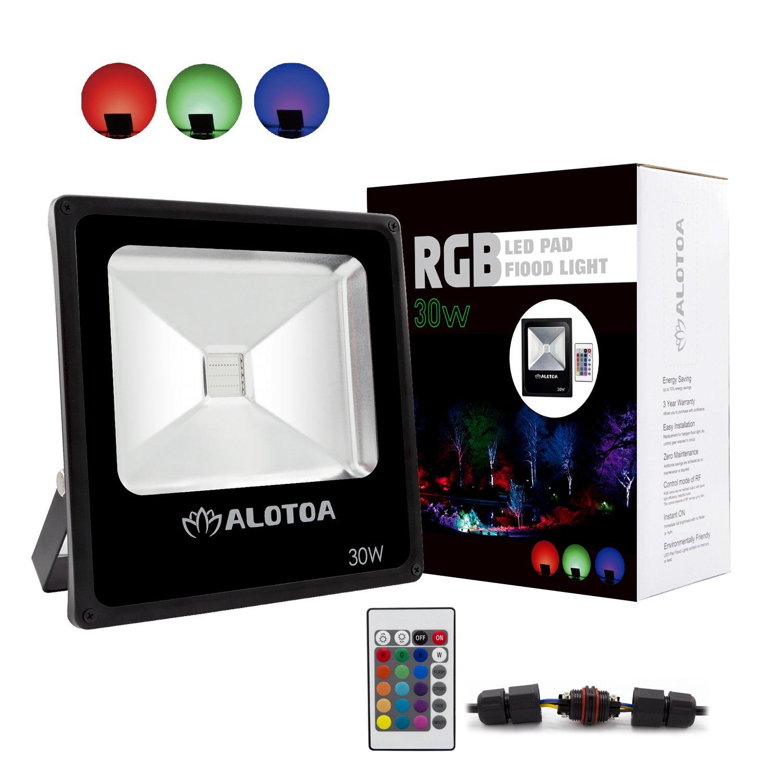 ALOTOA 30W Foco proyector RGB LED, con Control Remoto, 16 Colores ...