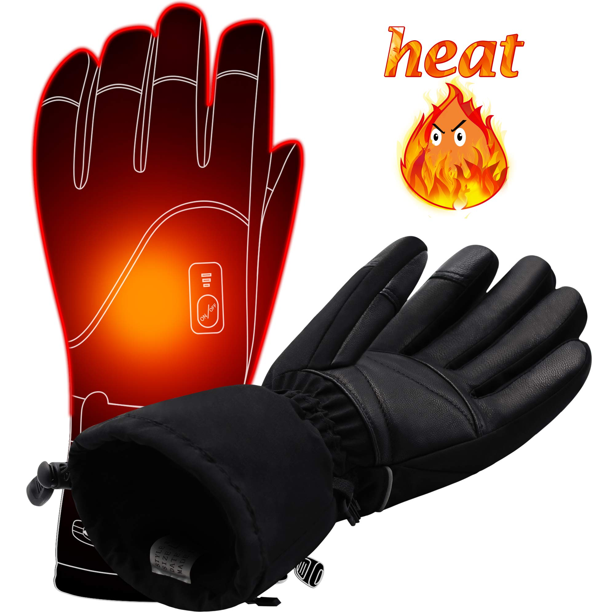 Autocastle Men Women Electric Heated GlovesTouchscreen Heating Gloves with 2200mAh Li-Po Battery,Heat Insulated Thermal Gloves for Climbing Hiking Skiing,3 Heat,Hand Warmer,Black (L) by Autocastle