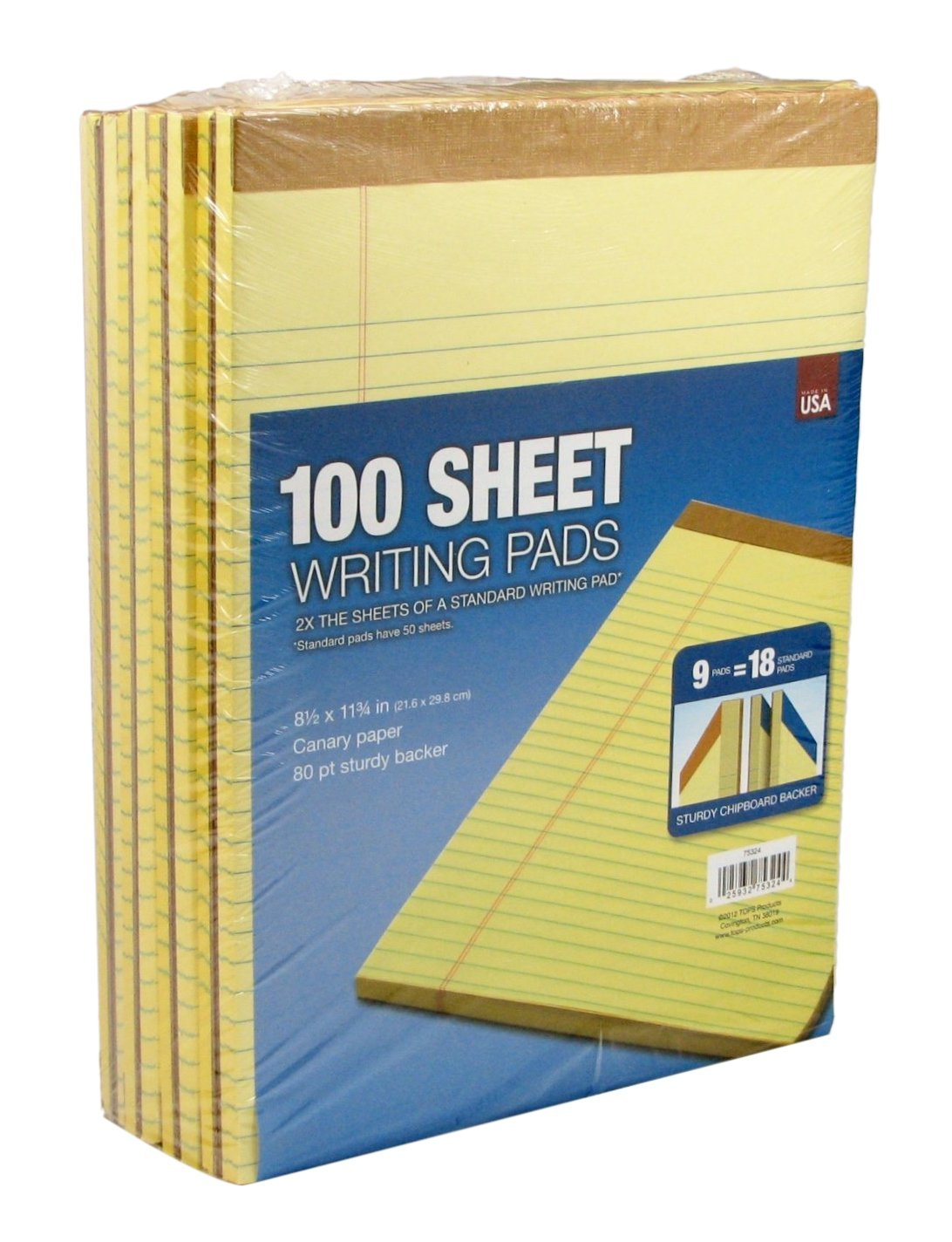 Canary Yellow 75324 Pack of 9 Pads Tops 100-Sheet Legal Pads