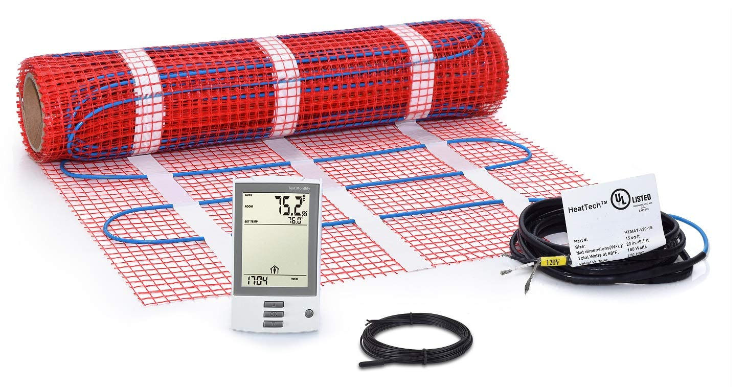 15 sqft Mat Kit, Electric Tile Floor Heating System with GFCI Programmable Thermostat and Floor Sensor, 120V
