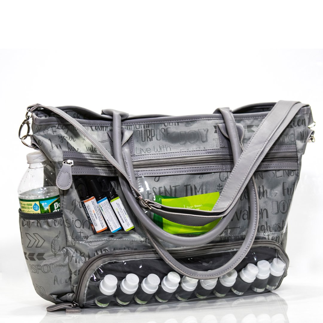 Essential Oils Demonstration Luci Style Travel and Crafts Tote that is Water Resistant a Great for Young Living DoTerra Avon and Mary Kay Sellers. Display Windows and Adjustable Shoulder Strap Gray