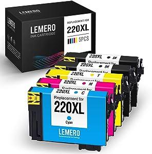LEMERO Remanufactured Ink Cartridge Replacement for Epson 220XL 220 XL T220XL for Workforce WF-2760 WF-2750 WF-2630 WF-2650 WF-2660 XP-320 XP-420 (Black Cyan Magenta Yellow, 5 Pack)