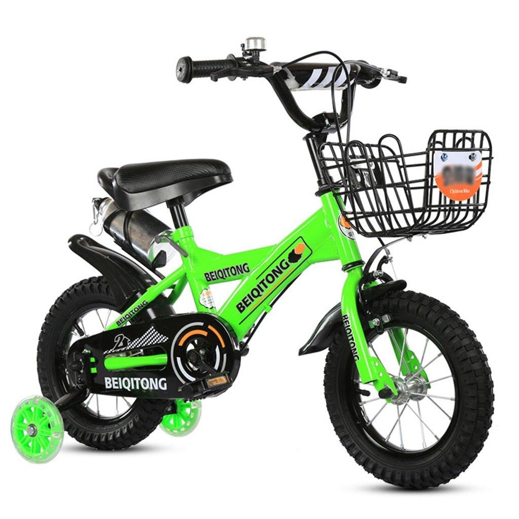 子供の自転車12|14|16|18|20インチ屋外の子供ベイビーキッドマウンテンバイクフラッシュトレーニングホイールで2歳から11歳の男の子の女の子の贈り物|アイアンバスケット|水ボトルセーフグリーン B078JSMFS414 inches