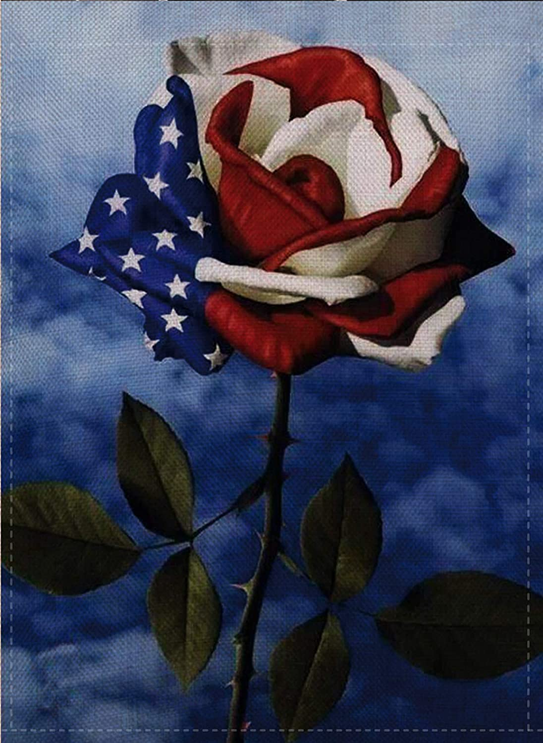 Dyrenson Home Decorative Love Small Patriotic Garden Flag July 4th Double Sided, Spring Summer Roses Burlap House Yard Decoration, Seasonal Outdoor Décor Flag 12.5 x 18 American Veteran Memorial Day