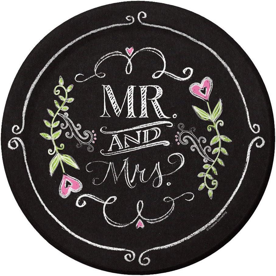 Creative Converting Pappteller Mr und Mrs 8 St/ück Kreide