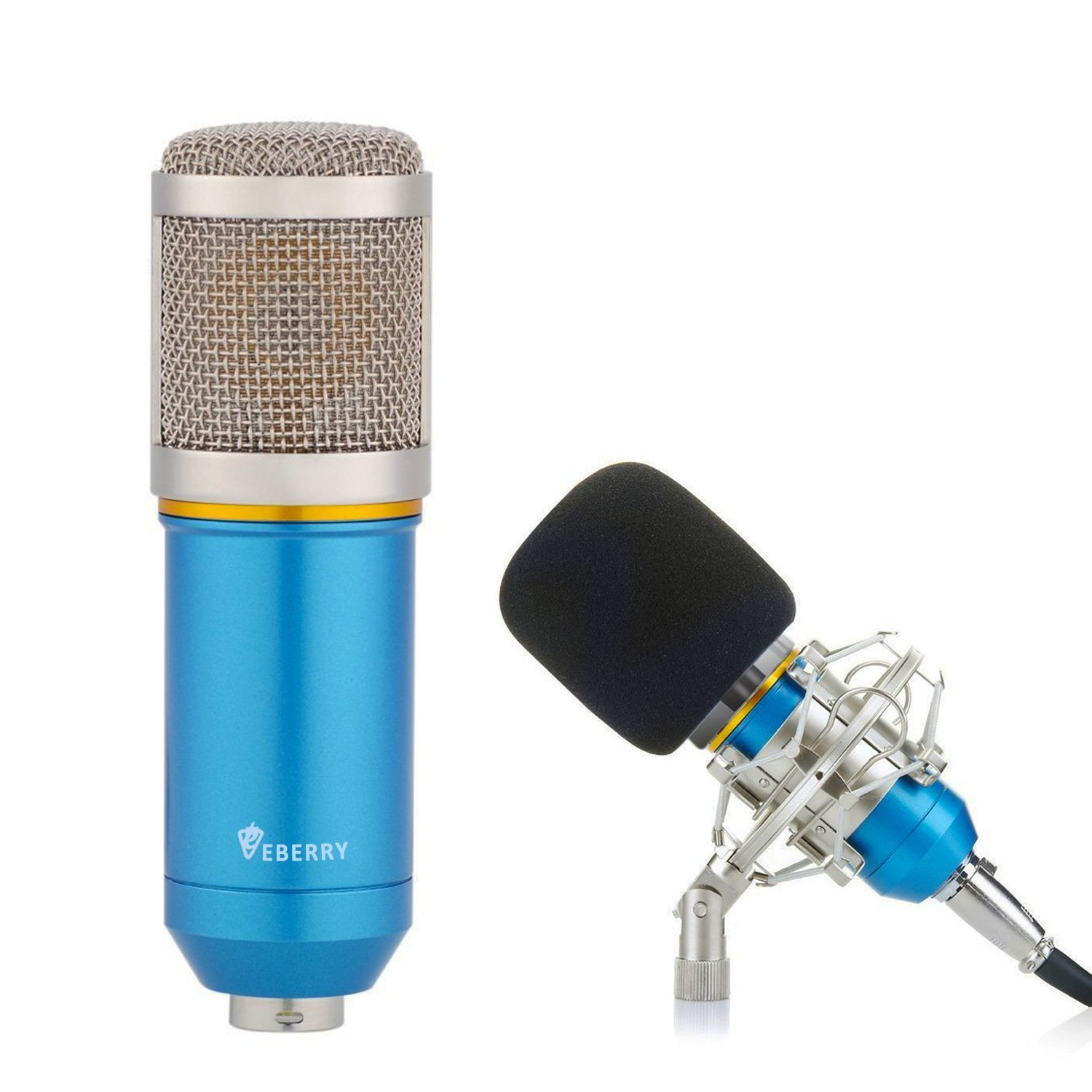 eBerry Condenser Microphone, Large Diaphragm Studio Broadcasting & Recording Vocal Condenser Mic with Shock Mount Holder Clip (Blue) by eBerry (Image #1)