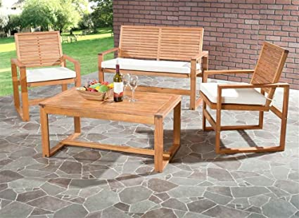 Tremendous Safavieh Home Collection Hailey Outdoor Living Acacia Patio Set Brown 4 Piece Home Interior And Landscaping Fragforummapetitesourisinfo