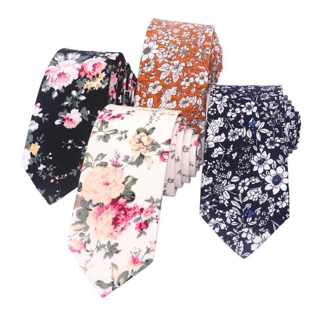 Kissvian Men's Cotton Floral Printing Skinny Tie Linen Tie Necktie, set of 4