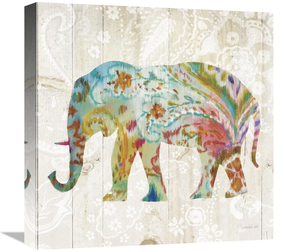 Global Gallery Danhui NAI Boho Paisley Elephant II Giclee Stretched Canvas Artwork 18 x 18