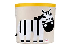 3 Sprouts Canvas Storage Bin - Laundry and Toy Basket for Baby and Kids, Zebra