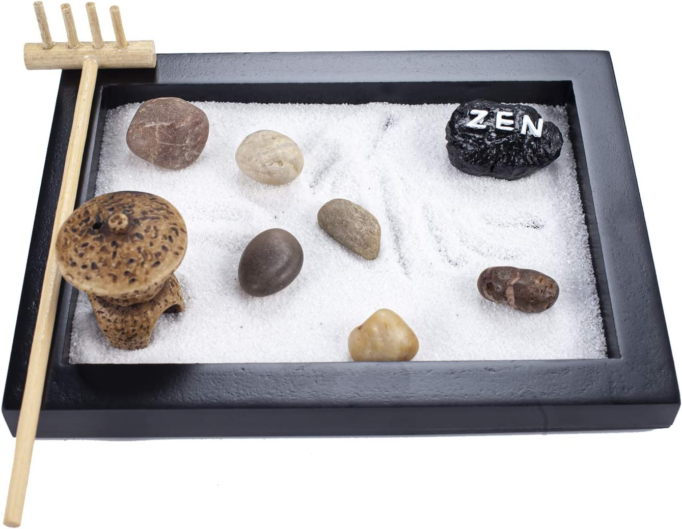 YJ Japanese Zen Sand Garden Mini Meditation Zen Garden Table Décor Kit with Accessories GR029