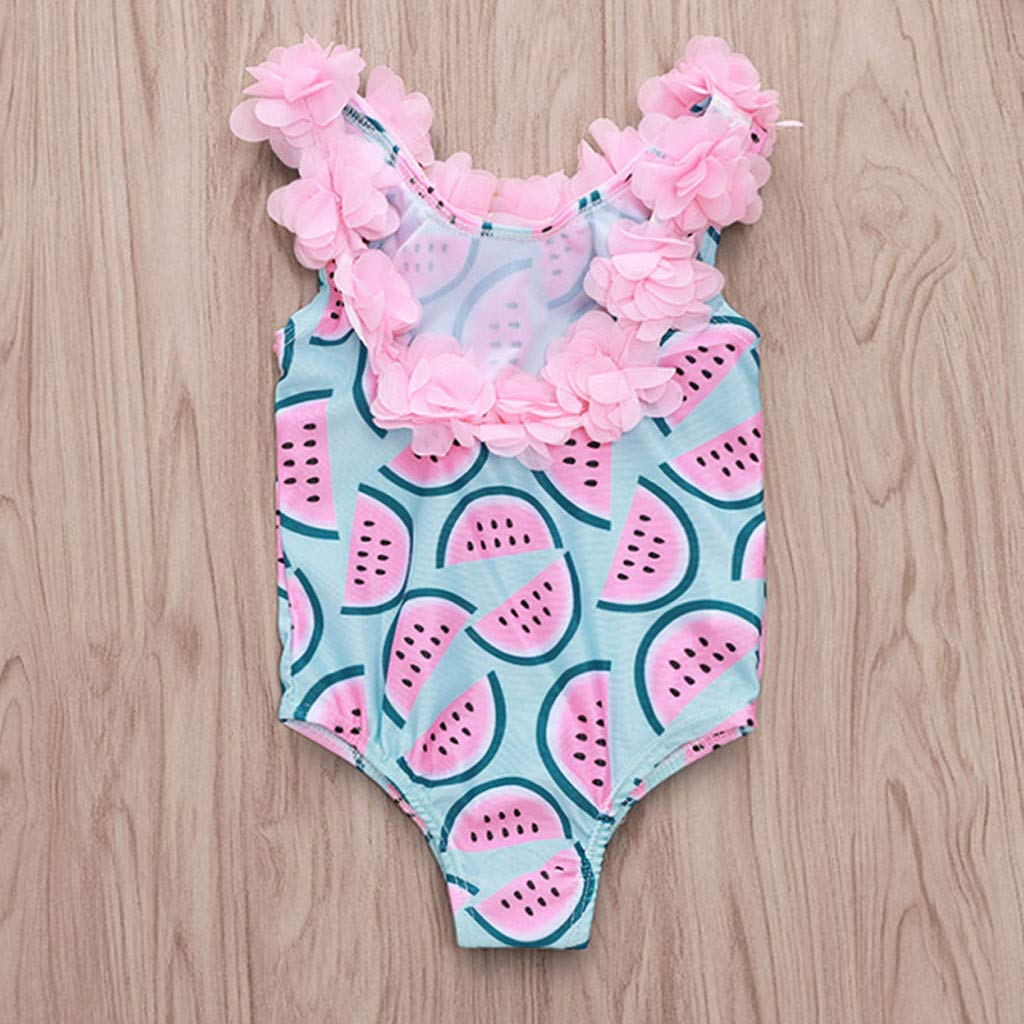 ❤️ Mealeaf ❤️ Toddler Kids Baby Girl Ruffled Print Bikini Beach Swimsuit Bathing Swimwear (6M-4Y)