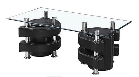 Couchtisch 130x70 Schwarz Kunstleder Hocker Glas Tisch Holz Garnitur