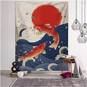 Tina Silvergray Japanese Ukiyo-e Style Wall Hanging Tapestry with Installation Tools (Carp Fish)