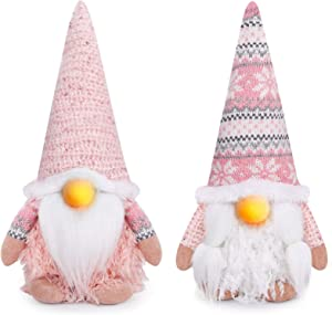 D-FantiX Christmas Gnomes Decorations, 2Pack Handmade Swedish Tomte Gnome with LED Lighting Nose Crochet Hat Scandinavian Figurine Pink Gnomes Plush Elf Xmas Decor Thanksgiving Short Leg