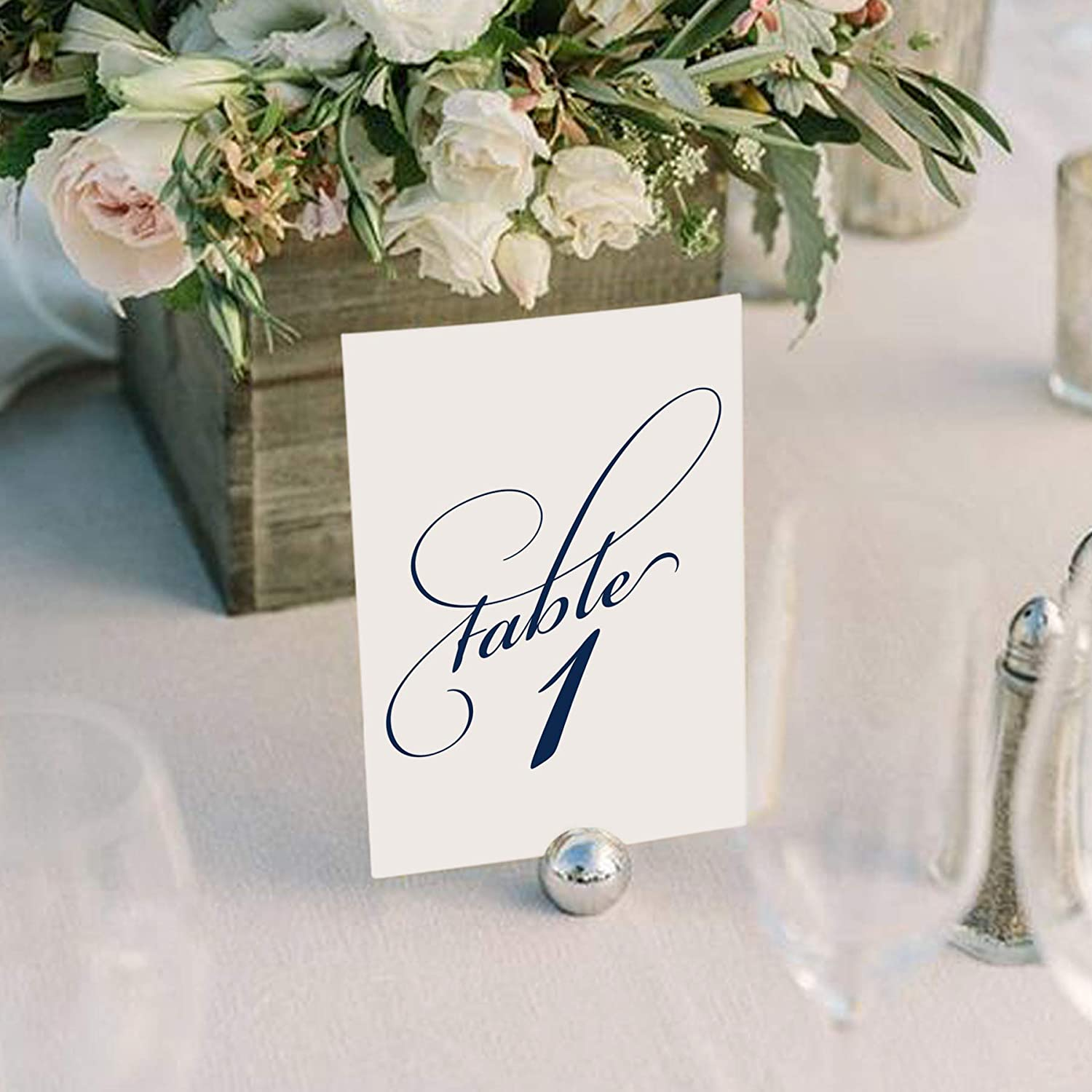 Black Wedding Table Numbers Numbers 1-25 and Head Table Card Included from Bliss Paper Boutique Double Sided 4x6 Calligraphy Design Assorted Color Options Available