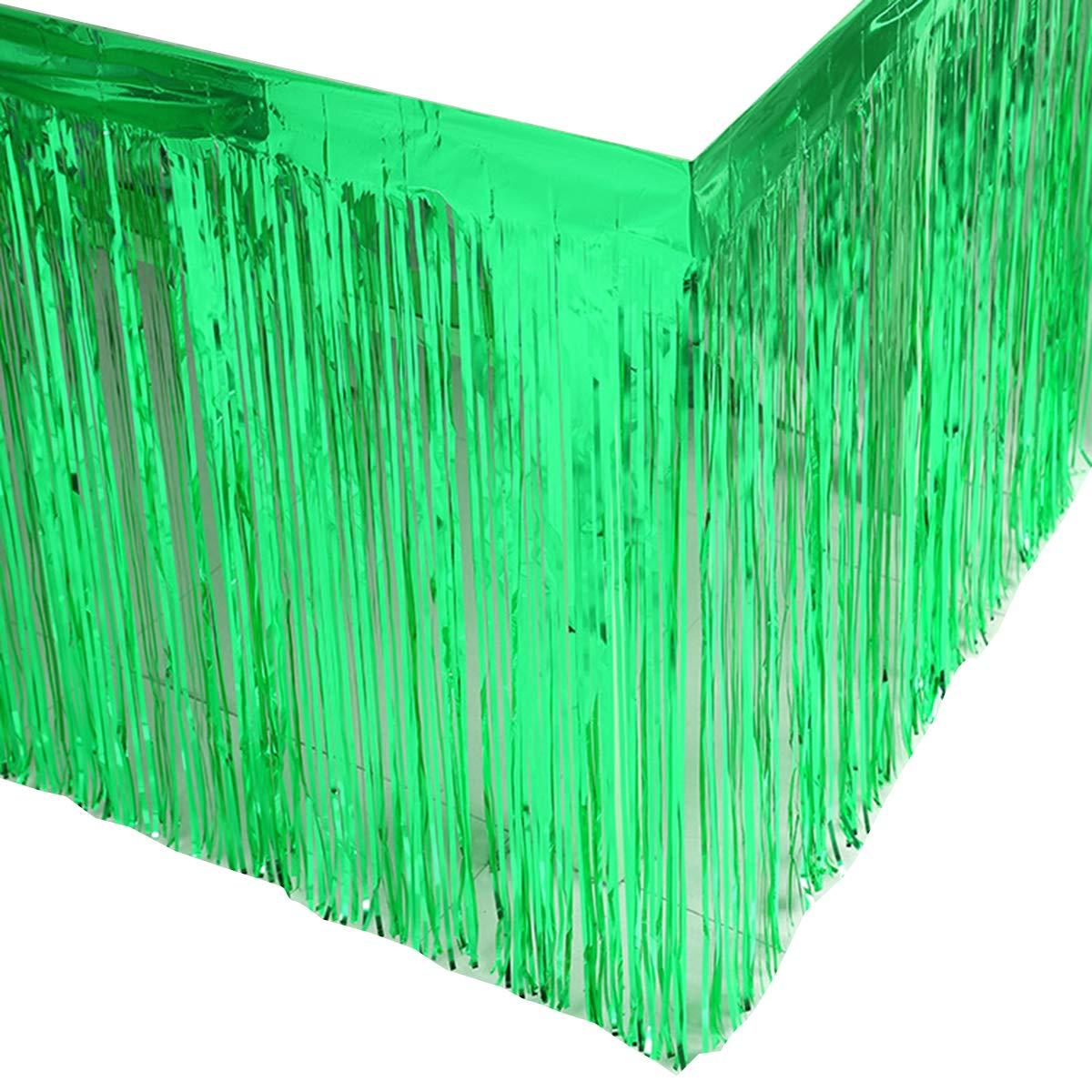 Leegleri 2 Pack Metallic Foil Fringe Table Skirt Green Table Skirt Tinsel Party Table Skirt Banner for Mardi Gras Party(L108 inH 29in, Green)