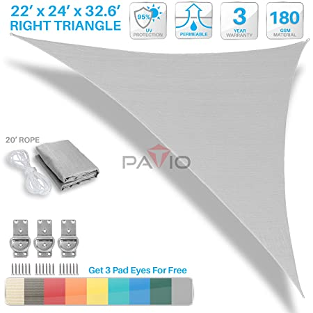 Patio Paradise 22 x 24 x 32.6 Light Grey Sun Shade Sail Right Triangle Canopy, Permeable UV Block Fabric Durable Outdoor, Customized Available