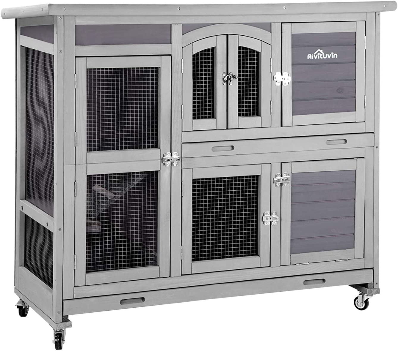 """Aivituvin 47"""" Two Story Rabbit Hutch Bunny Cage with Wheels, Indoor Outdoor Guinea Pig Cage with 2 Deep No Leak Tray"""