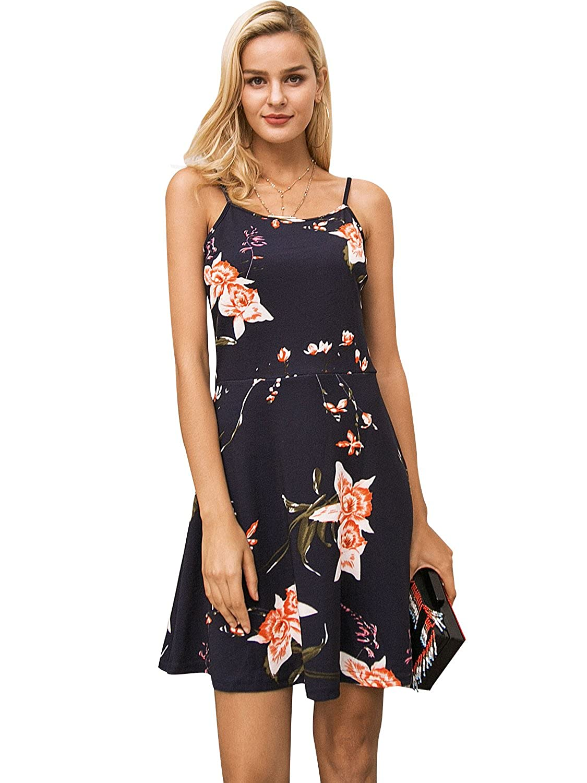 13%OFF Terryfy Damen Kurz Kleid Elegant Spaghetti Träger Blumen