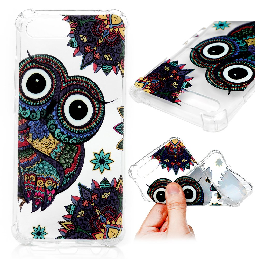 Huawei Honor 10 Coque LANVY Housse tui TPU Silicone Souple Coque Conception Exquise Cover Gel Doux Case Anti-drapante Coque Bumper Cover pour Huawei Honor 10 - Paon Violet