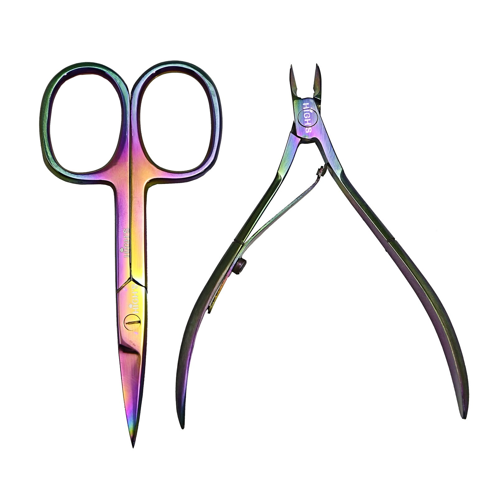 HIGH'S Rainbow Colorful Stainless Steel Professional Mini Manicure Kit Cuticle Nipper and Nail Scissors Set