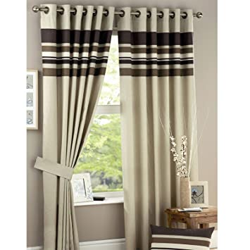 Just Contempo Stripe Eyelet Lined Curtains, Brown, 46x54 inches ...