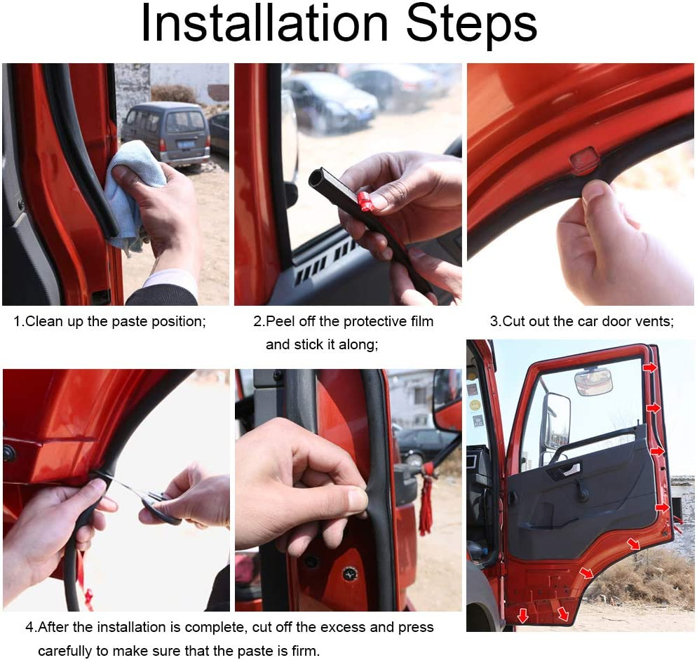 Universal Automotive Door Seal Strip D-Shape Self-Adhesive Weather Stripping for Car Truck Door Window Soundproof Noise Insulation Sealing x 11//20 T x 39.4 L 11//20 W