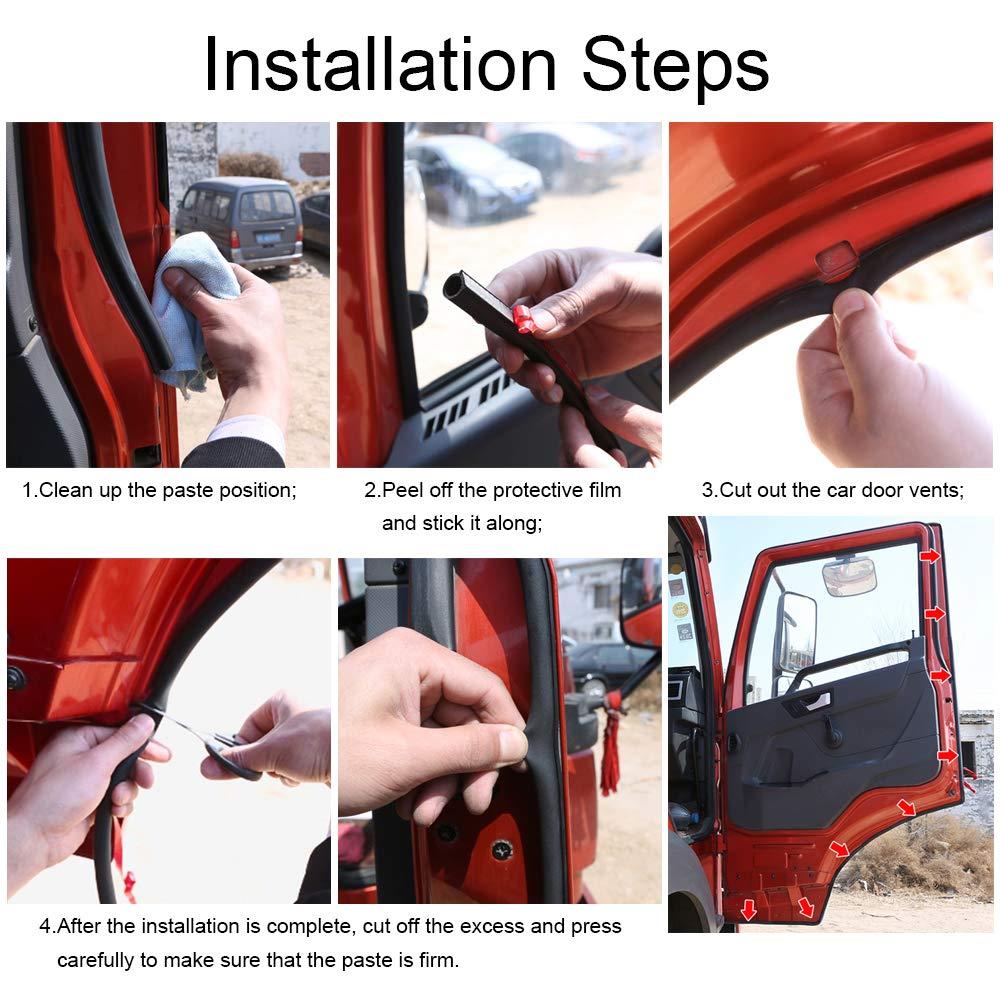 Universal Automotive Door Seal Strip D-Shape Self-Adhesive Weather Stripping for Car Truck Door Window Soundproof Noise Insulation Sealing