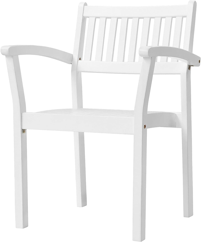 Vifah Bradley Outdoor Patio Wood Garden Stacking Armchair (Set of 2)